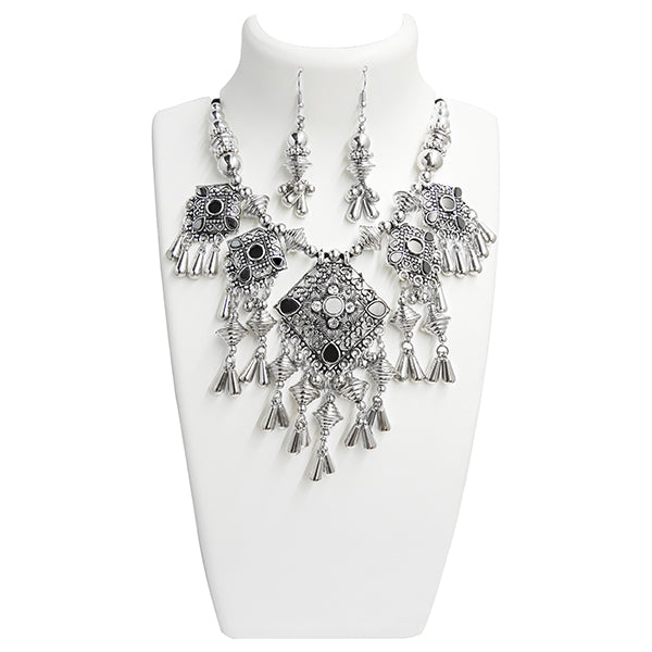 Jeweljunk Navratri Special Rhodium Plated  Necklace Set
