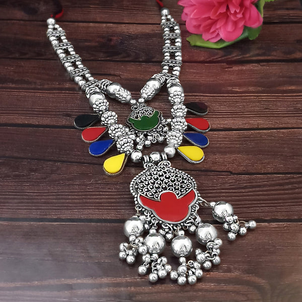 Jeweljunk Navratri Special Two Layer Oxidised Plated Multicolour Necklace