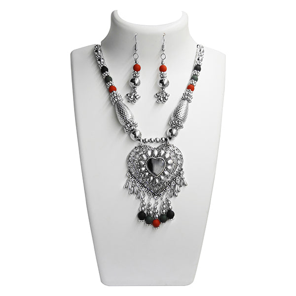 Jeweljunk Black And Red Beads Navratri Special Necklace Set