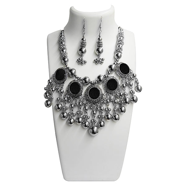 Jeweljunk Black Rhodium Plated Navratri Special Necklace Set