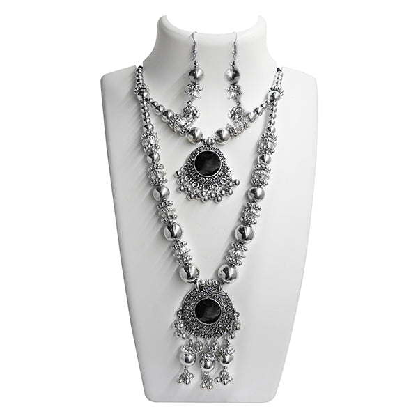Jeweljunk Navratri Special Black 2 Layer Necklace Set