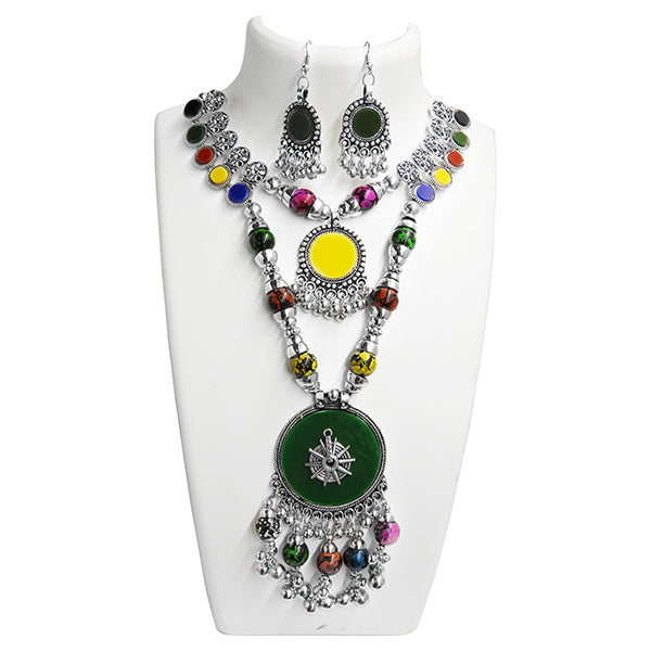Jeweljunk Rhodium Plated 2 Layer Navratri Special Necklace Set