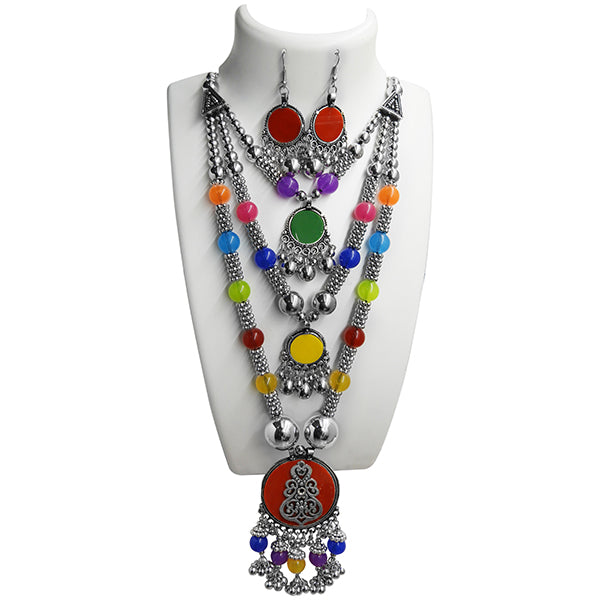 Jeweljunk Rhodium Plated Navratri Special 3 Layer Necklace Set