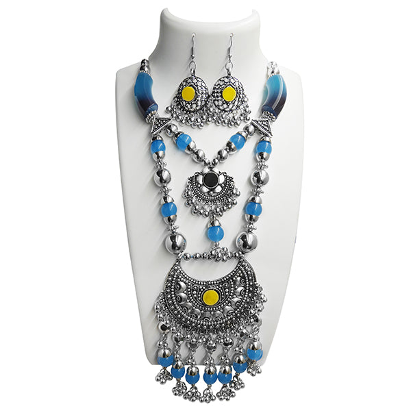 Jeweljunk Navratri Special Blue Beads Rhodium Plated Necklace Set