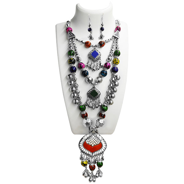 Jeweljunk Navratri Special Rhodium Plated 3 Layer Necklace Set