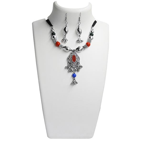 Jeweljunk Multicolour Beads Rhodium Plated Navratri Special Necklace Set