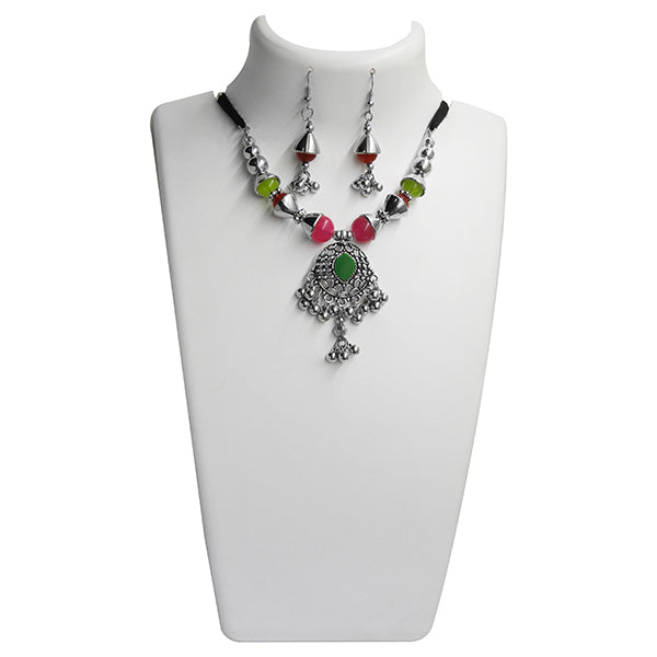 Jeweljunk Green Beads Navratri Special Necklace Set