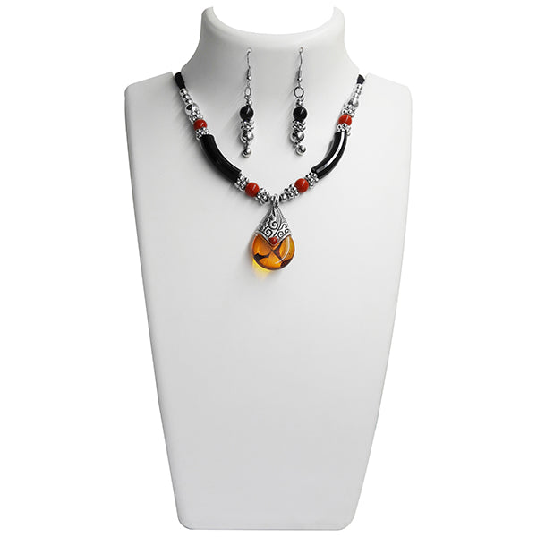 Jeweljunk Yellow Stone Rhodium Plated Navratri Special Necklace Set