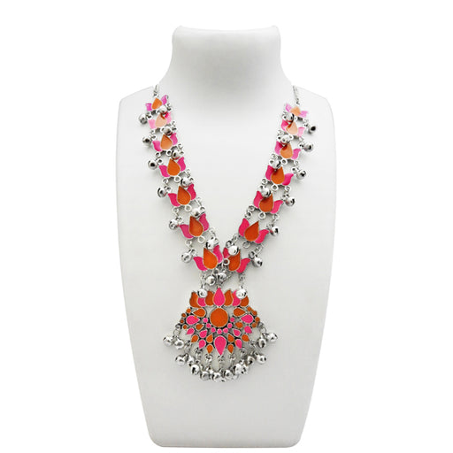 Urthn Pink & Orange Meenakari Rhodium Plated Lotus Design Necklace