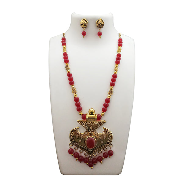 Urthn Antique Gold Plated Maroon Beads Necklace Set