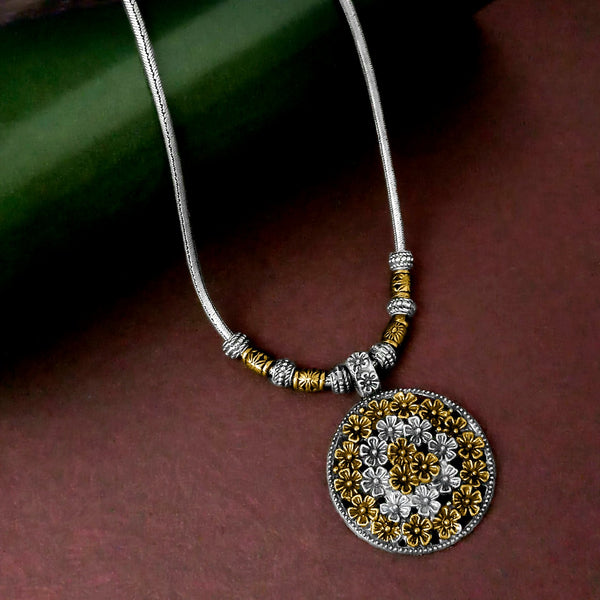 Jeweljunk 2 Tone Plated Floral Design Boho Necklace