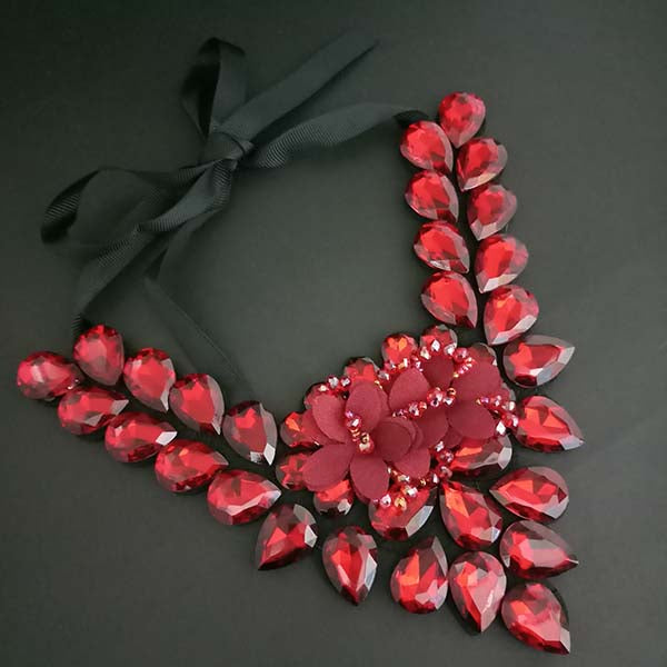 Yoona Red Crystal Stone Black Ribbon Necklace
