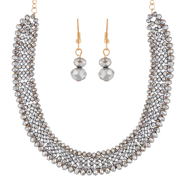 Urthn Gold Plated Grey Crystal Beads Necklace Set