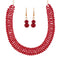 Urthn Maroon Crystal Beads Gold Plated Necklace Set