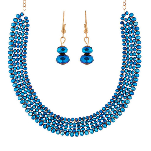 Urthn Gold Plated Blue Crystal Beads Necklace Set
