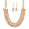 Urthn Peach Crystal Beads Statement Necklace Set