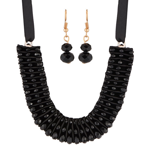 Urthn Black Crystal Beads Statement Necklace Set