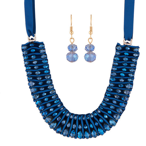 Urthn Blue Crystal Beads Statement Necklace Set