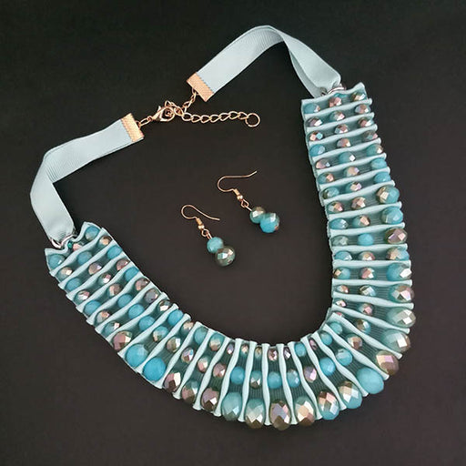 Urthn Blue Crystal Beads Lace Statement Necklace Set