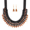 Urthn Brown Crystal Beads Statement Necklace Set