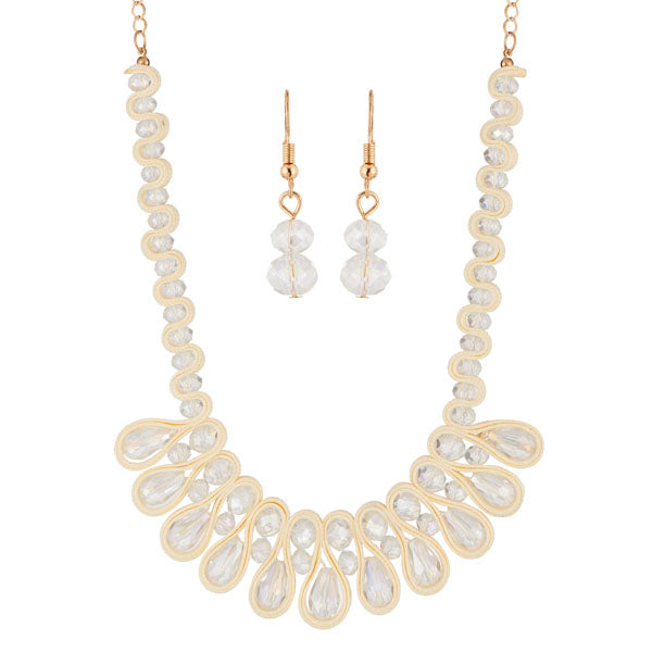 Urthn White Crystal Beads Statement Necklace Set