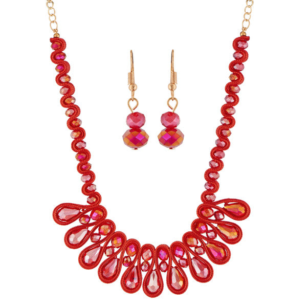 Urthn Pink Crystal Beads Statement Necklace Set