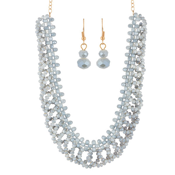 Urthn Grey Crystal Beads Statement Necklace Set