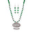 Urthn Green Beads Rhodium Plated Necklace Set