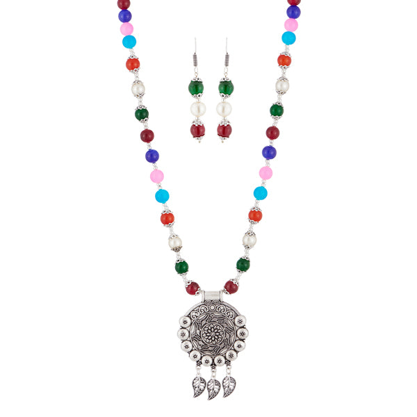 Urthn Multicolor Beads Rhodium Plated Necklace Set