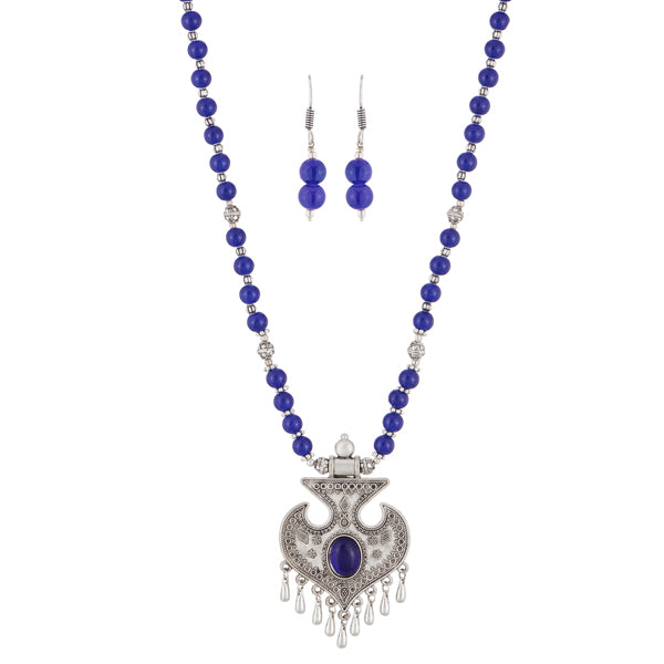 Urthn Rhodium Plated Blue Beads Necklace Set