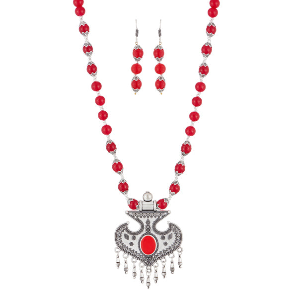 Urthn Maroon Beads Rhodium Plated Necklace Set