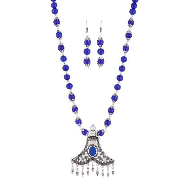 Urthn Blue Beads Rhodium Plated Necklace Set