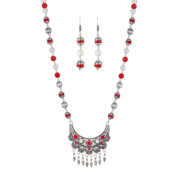 Urthn Rhodium Plated Maroon Beads Necklace Set