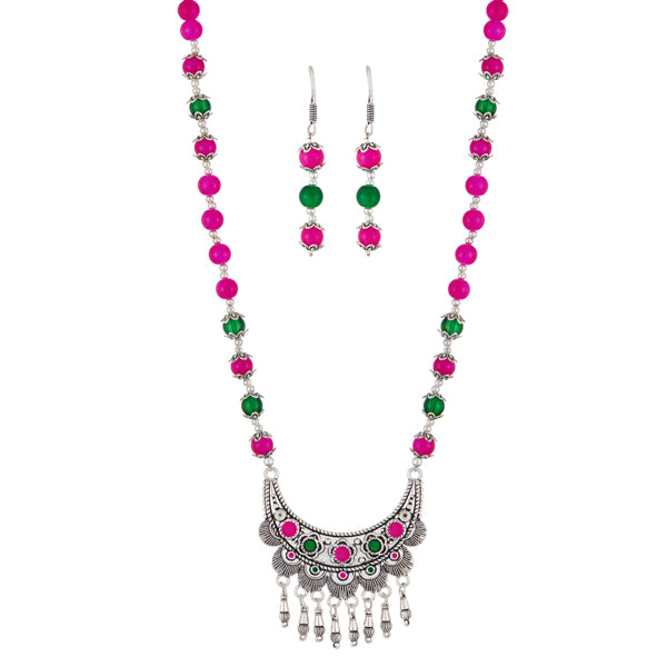 Urthn Pink Beads Rhodium Plated Necklace Set