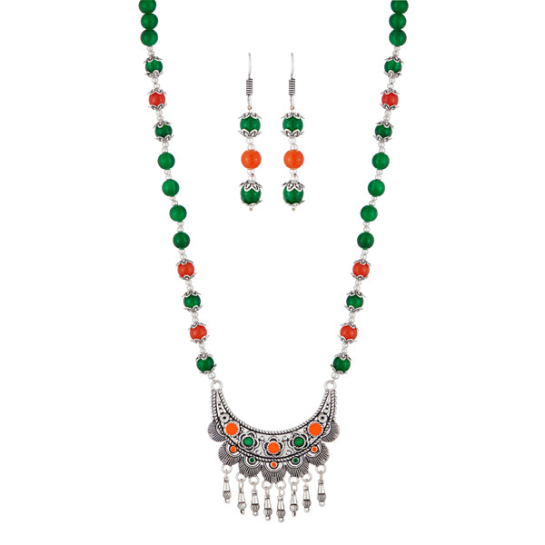 Urthn Rhodium Plated Green Beads Necklace Set