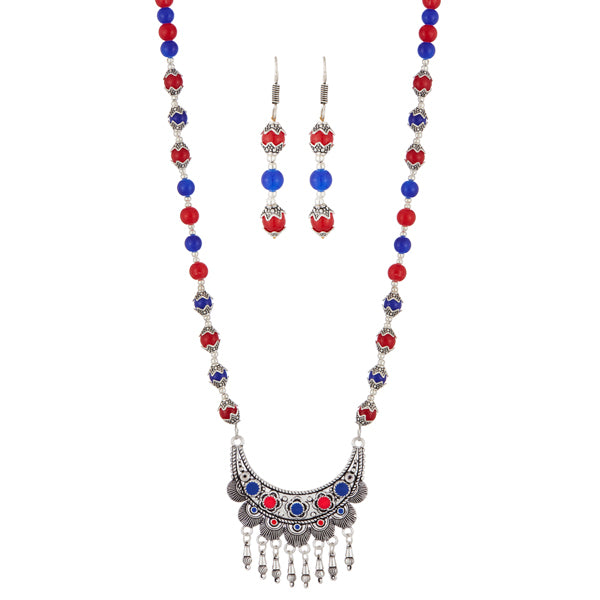 Urthn Beads Rhodium Plated Necklace Set