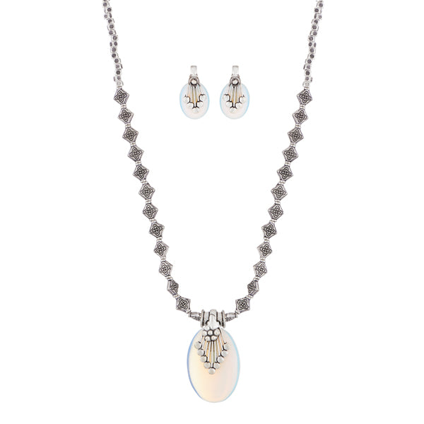 Urthn Rhodium Plated Gems Stone Necklace Set