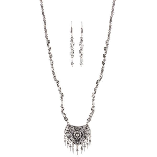 Urthn Zinc Alloy Rhodium Plated Necklace Set