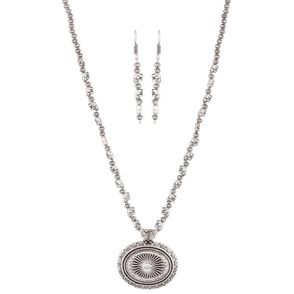 Urthn Rhodium Plated Elephant Design Necklace Set