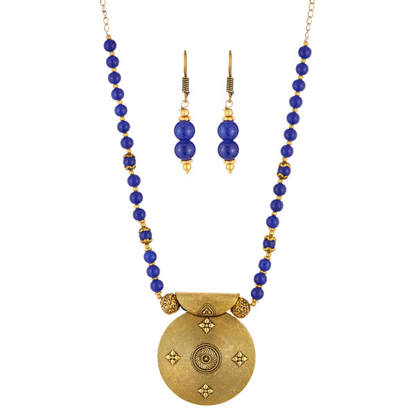 Urthn Antique Gold Plated Blue Beads Necklace Set