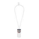 Urthn Resin Stone Rhodium Plated Hanging Chain Necklace