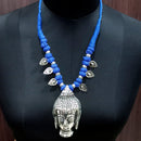 Jeweljunk Blue Dori Buddha Design Tribal Necklace Set