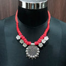 Jeweljunk Rhodium Plated Red Dori Tribal Necklace Set
