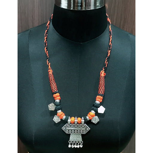 Jeweljunk Rhodium Plated Multicolor Dori Tribal Necklace Set