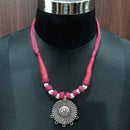 Jeweljunk Rhodium Plated Pink Dori Tribal Necklace Set
