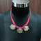 Jeweljunk Lotus Design Pink Dori Tribal Neckalce Set