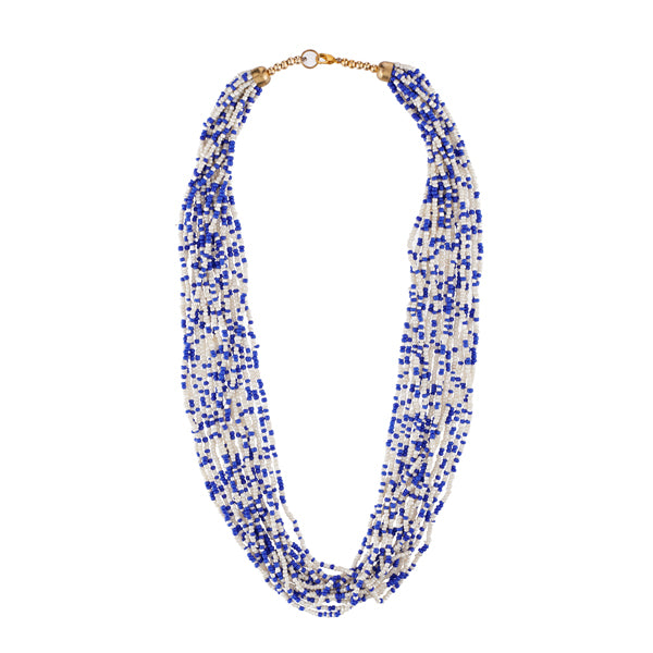 Urthn Blue Beads Zinc Alloy Statement Necklace