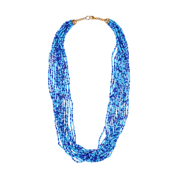 Urthn Zinc Alloy Blue Beads Statement Necklace Set