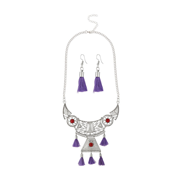 Jeweljunk Purple Thread Rhodium Plated Necklace Set