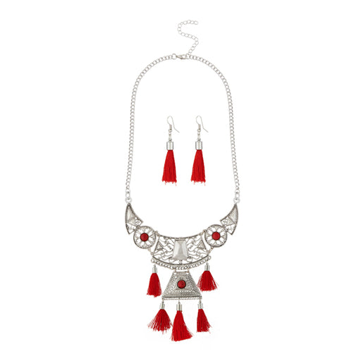 Jeweljunk Maroon Thread Rhodium Plated Necklace Set